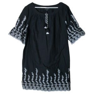 Eloquii Black white embroidered dress tassel tie
